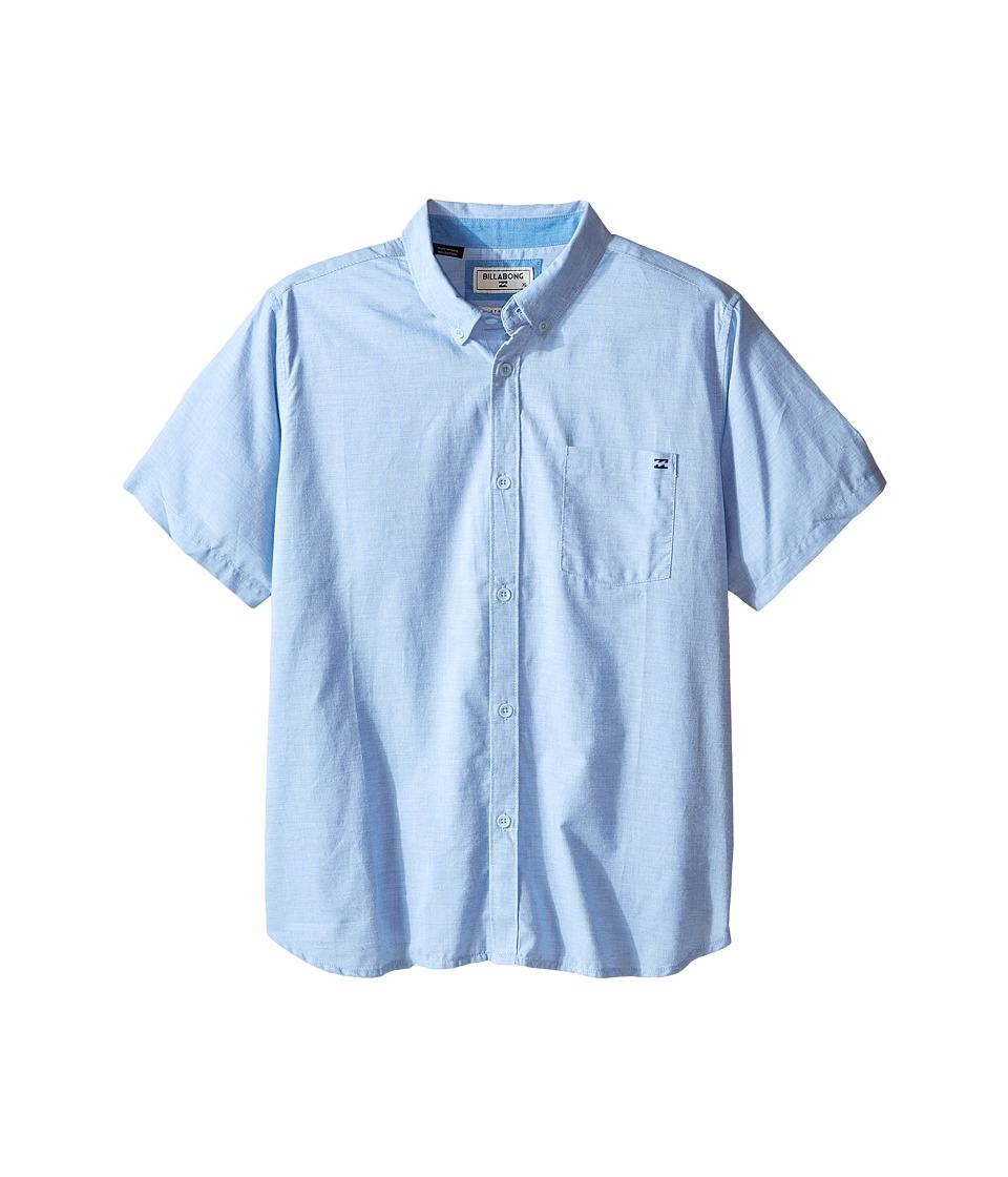 Image of Billabong Kids - All Day Chambray Woven Top (Big Kids) (Light Blue) Boy's Short Sleeve Button Up