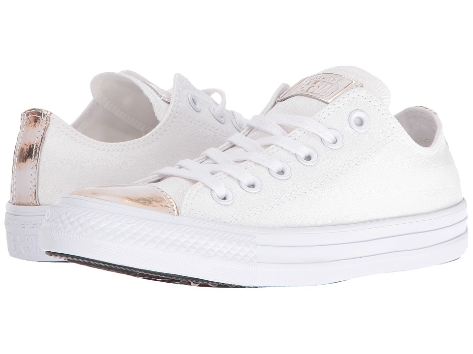 Converse Chuck Taylor All Star Brush-Off Leather Toecap Lo (White/Light Gold/White) Women