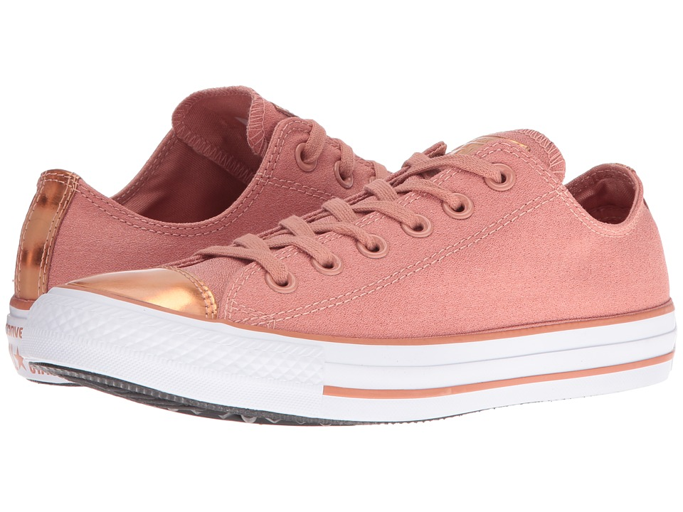 Converse Chuck Taylor All Star Brush-Off Leather Toecap Lo (Pink Blush/Blush Gold/White) Women