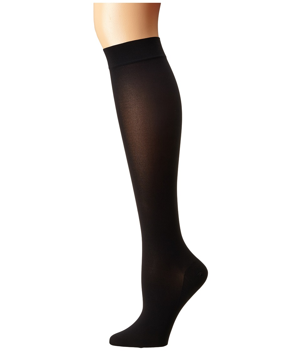 Wolford - Satin Opaque Nature Knee Highs (Black) Knee high Hose