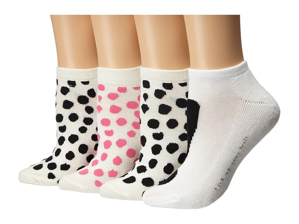 Kate Spade New York - 4-Pack Ped Socks (Black) Women