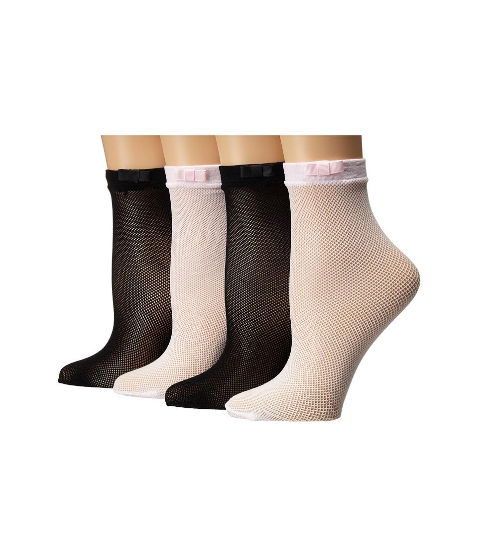 Kate Spade New York - 4-Pack Anklet Socks (Black) Women