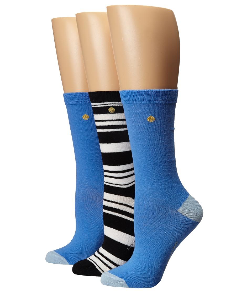 Kate Spade New York - 3-Pack Trouser Socks (Blue/Black) Women