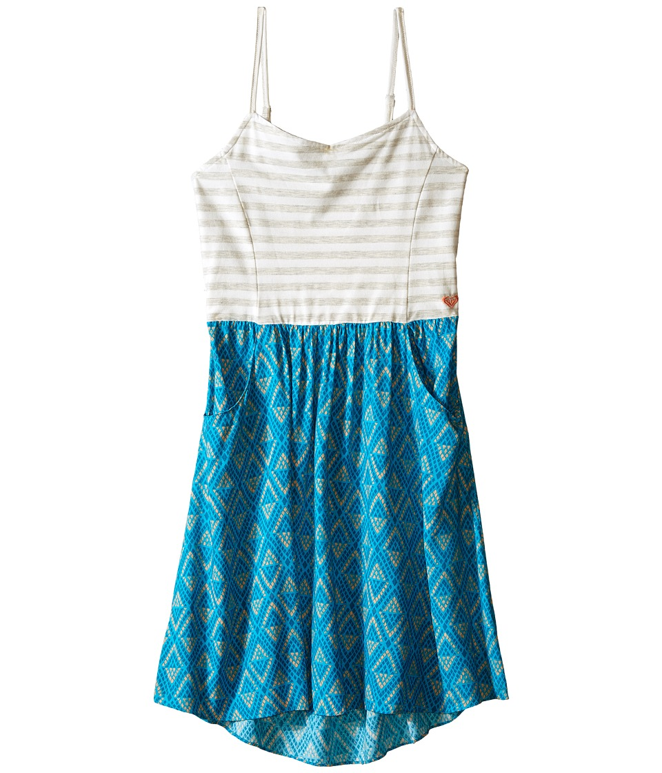 Roxy Kids Geo Island Dress Big Kids Peacock Blue Girls Dress