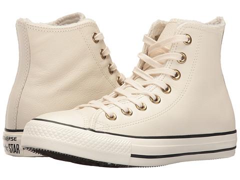 Converse Chuck Taylor® All Star® Leather + Fur Hi - Parchment/Black/Egret