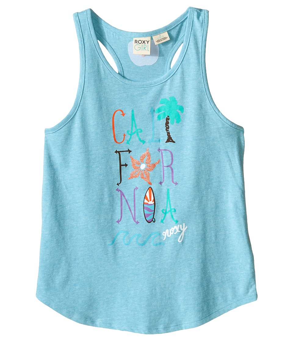 Roxy Kids Cali Wave Tank Top Big Kids Blue Curacao Girls Sleeveless