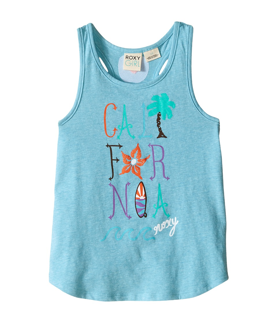 Roxy Kids Cali Wave Tank Top Toddler/Little Kids Blue Curacao Girls Sleeveless