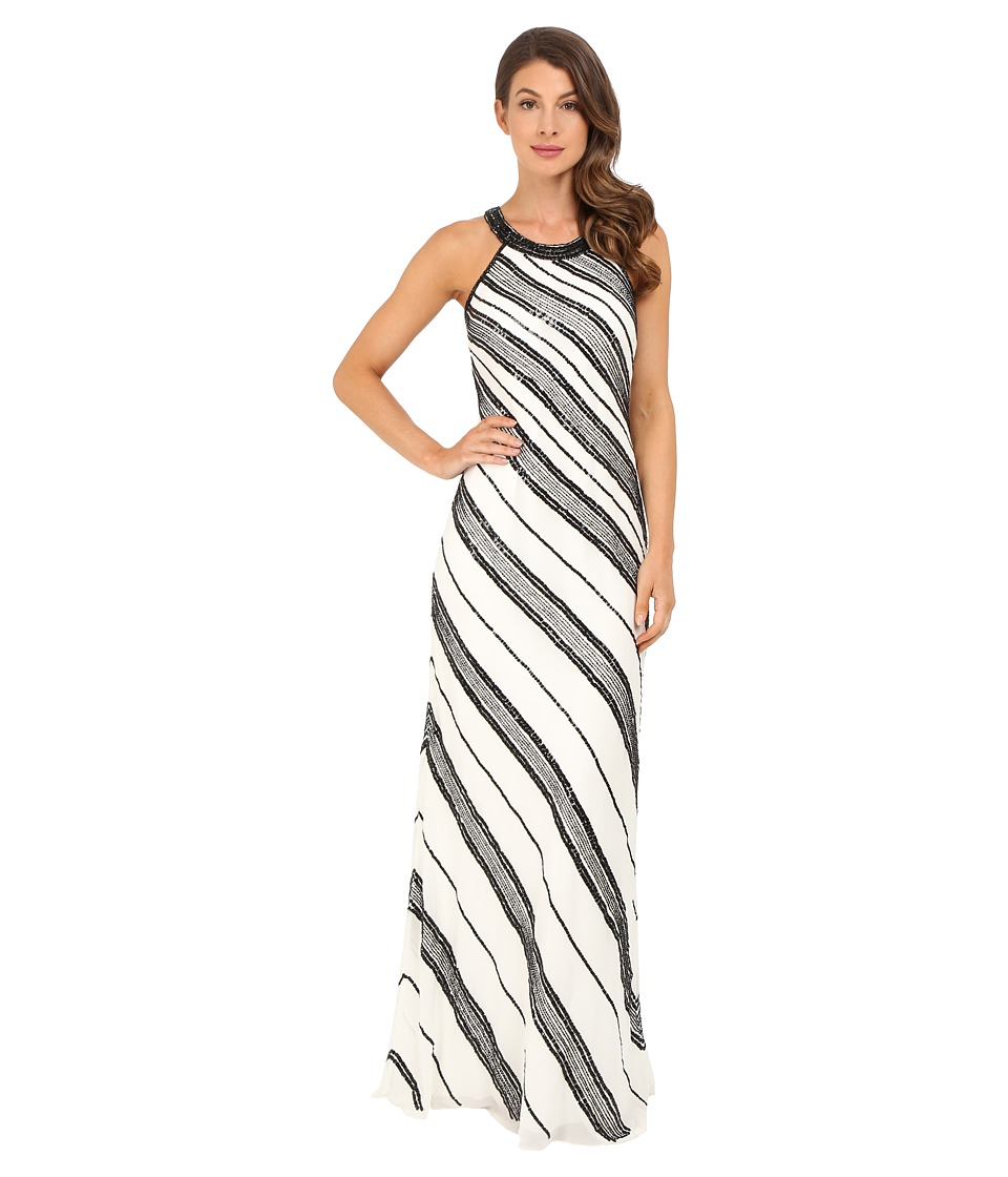 Adrianna Papell Halter Fully Beaded Georgette Gown Ivory/Black Womens Dress