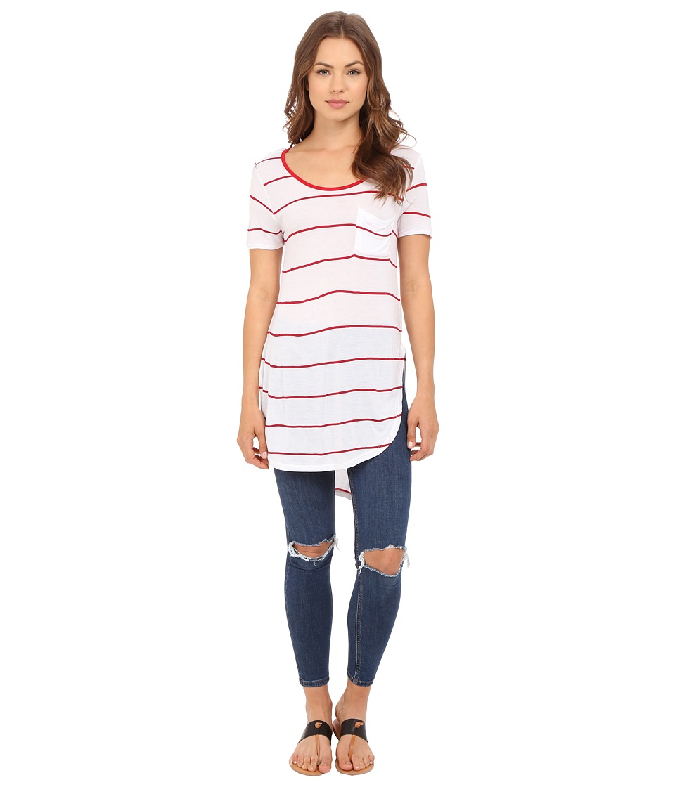 Culture Phit Ada Round Neck Top with Pocket Red/White Womens Clothing
