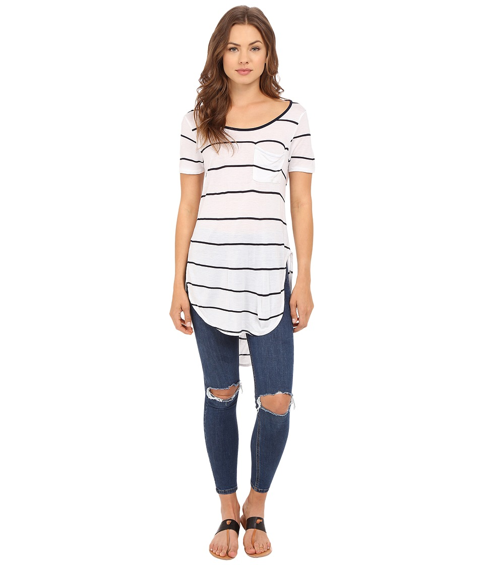 Culture Phit Ada Round Neck Top with Pocket Navy/White Womens Clothing