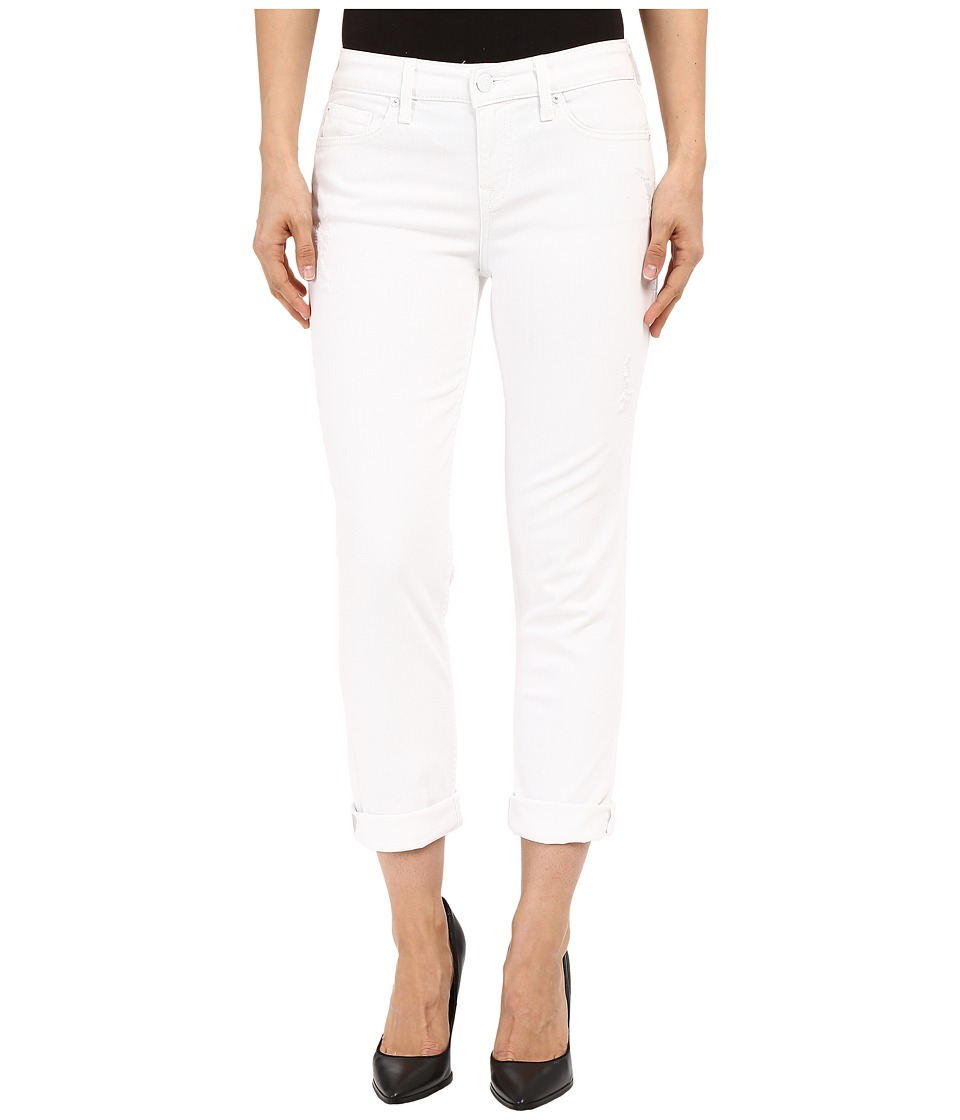 Level 99 Lily Mid Rise Crop Roll Up Skinny Straight in White Crush White Crush Womens Jeans