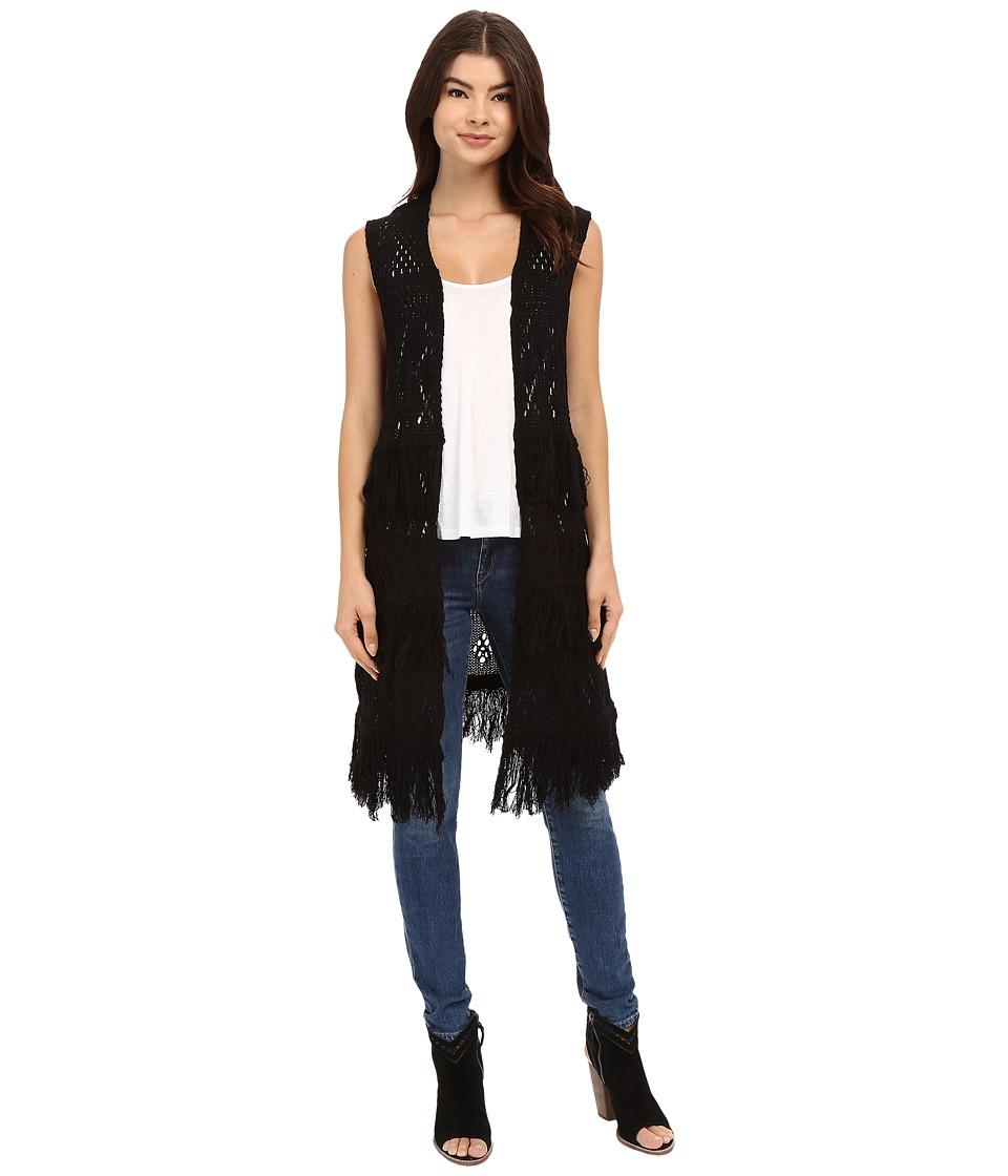 Brigitte Bailey Belen Fringed Sweater Vest Black Womens Vest