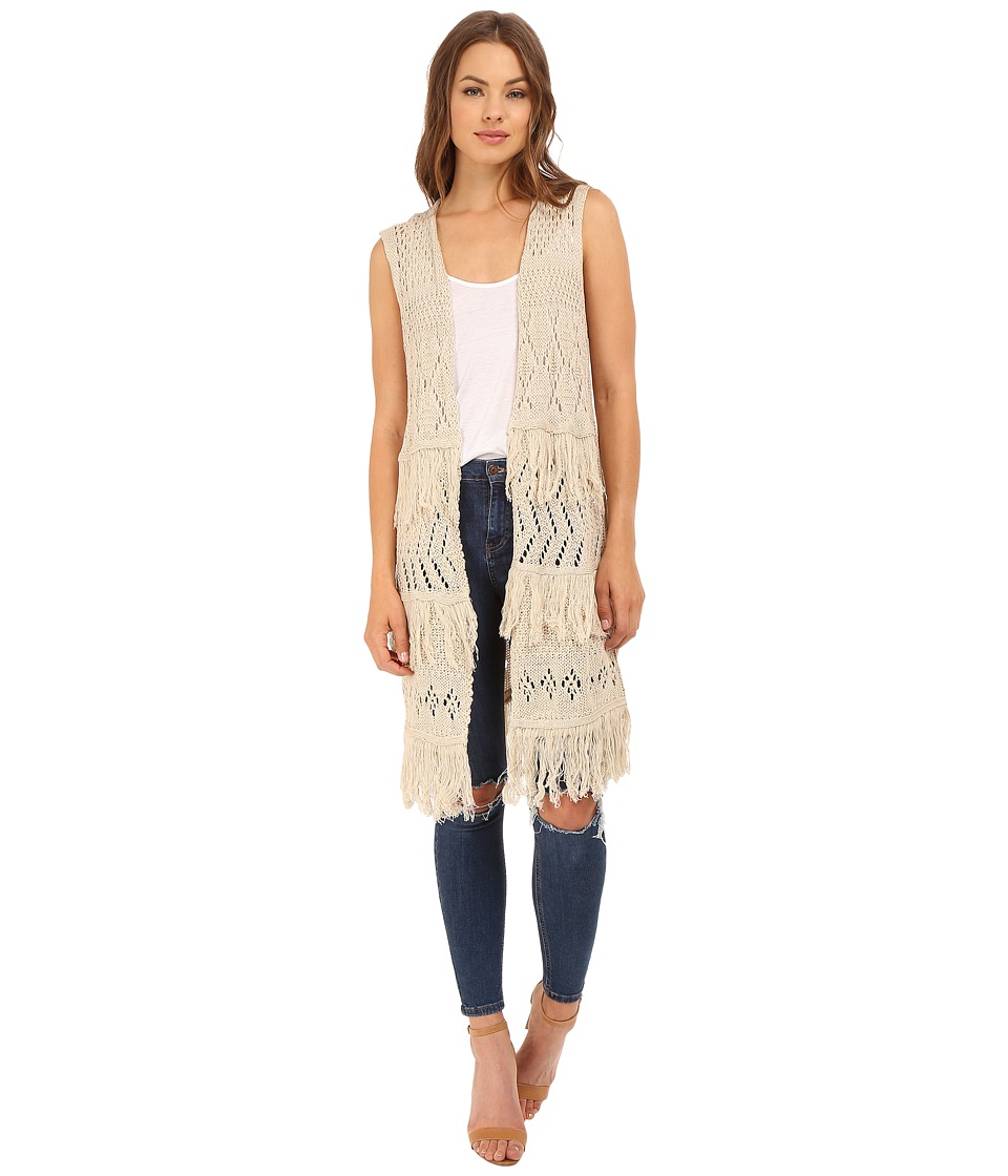 Brigitte Bailey Belen Fringed Sweater Vest Jute Womens Vest