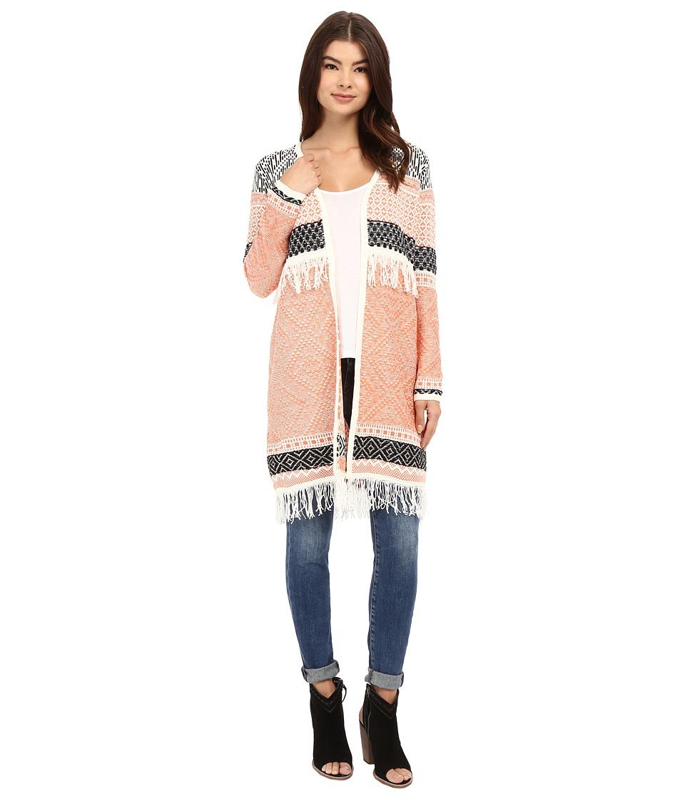 Brigitte Bailey Briley Long Sleeve Fringed Cardigan Pink/Black Womens Sweater
