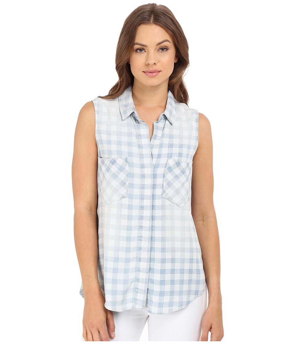 Brigitte Bailey Braylee Sleeveless Plaid Button Up Top Light Denim Womens Sleeveless
