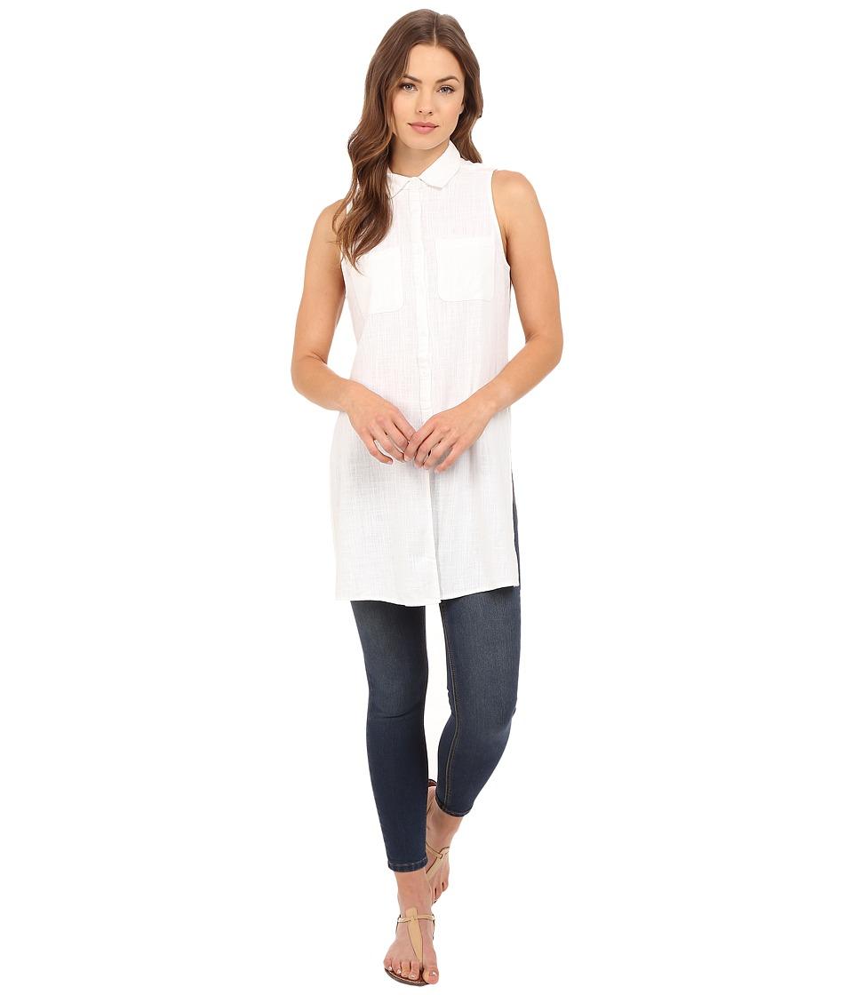 Brigitte Bailey Briella Sleeveless Button Up Top White Womens Sleeveless