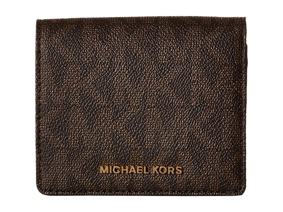 MICHAEL Michael Kors - Jet Set Travel Carryall Card Case (Brown) Credit card Wallet