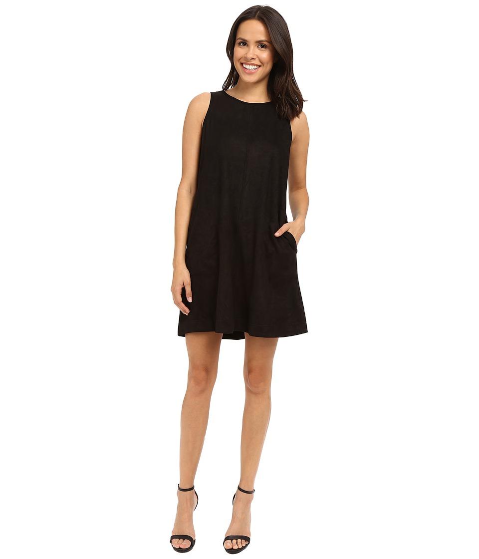 Brigitte Bailey Aisha Sleeveless Faux Suede Dress Black Womens Dress