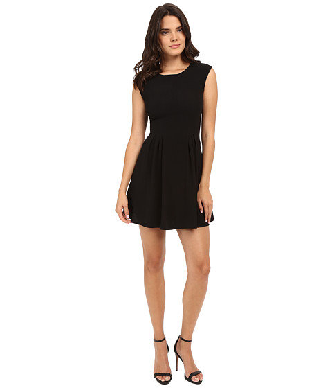Brigitte Bailey Delaney Cap Sleeve Pleated Dress - Black