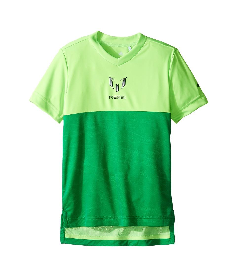 adidas Kids Messi Icon Tee (Little Kids/Big Kids) (Solar Green) Kid