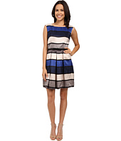 Christin Michaels - Greta Cap Sleeve Pleated Dress with Belt