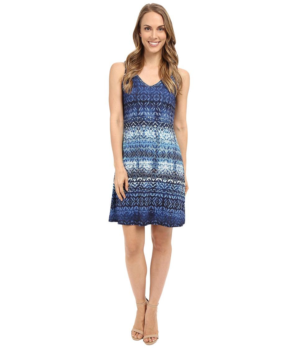 Karen Kane Blue Batik Brigitte Dress Print Womens Dress