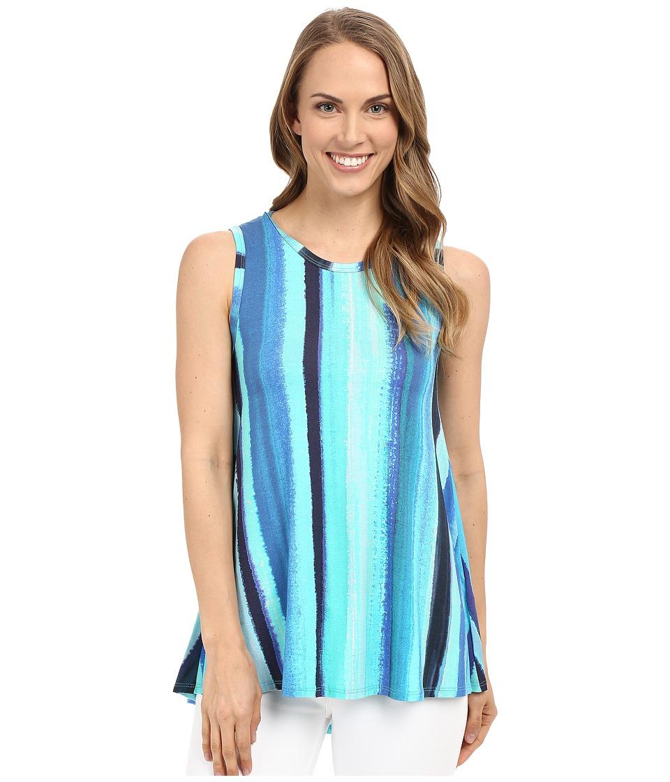 Karen Kane Aquamarine Stripe Tank Top Print Womens Sleeveless