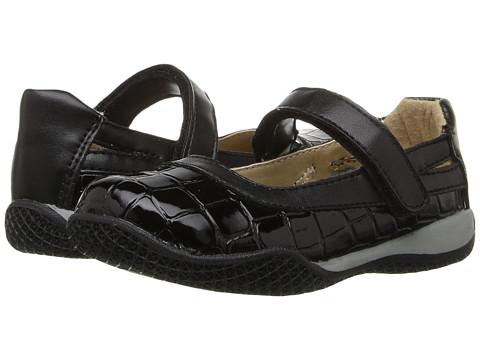 W6YZ Connie (Toddler/Little Kid) - Black Croc Patent