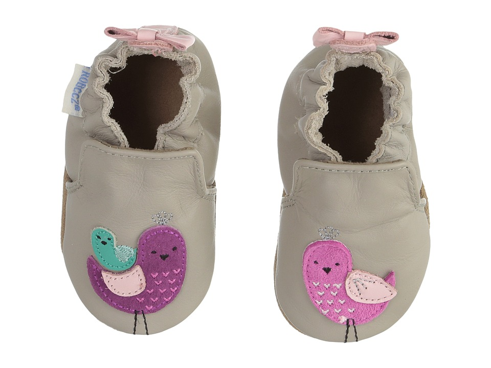 Robeez Peaceful Partridge Soft Sole (Infant/Toddler) (Grey) Girls Shoes