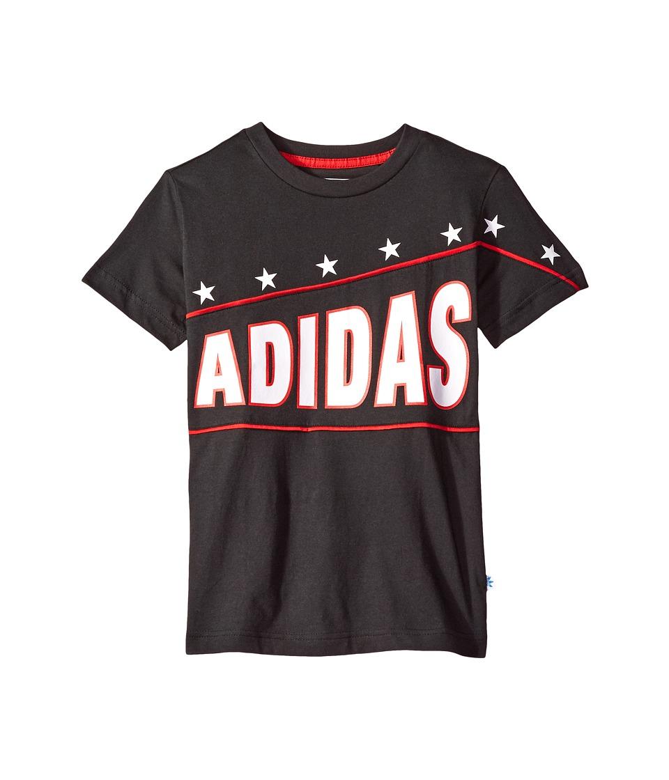 adidas Originals Kids Everyday Iconics FR Tee (Toddler/Little Kids/Big Kids) (Black/Scarlet/White) Boy