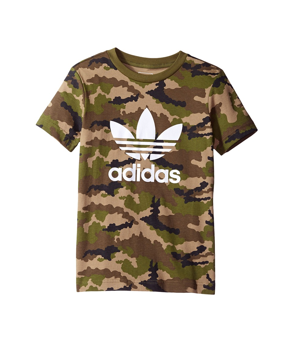 adidas Originals Kids Everyday Iconics Trefoil Camo Tee (Toddler/Little Kids/Big Kids) (Multicolor/Olive Cargo/White) Boy
