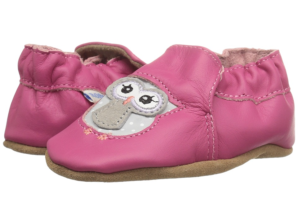 Robeez Owl Playmates Soft Sole (Infant/Toddler/Little Kid) (Bright Pink) Girls Shoes