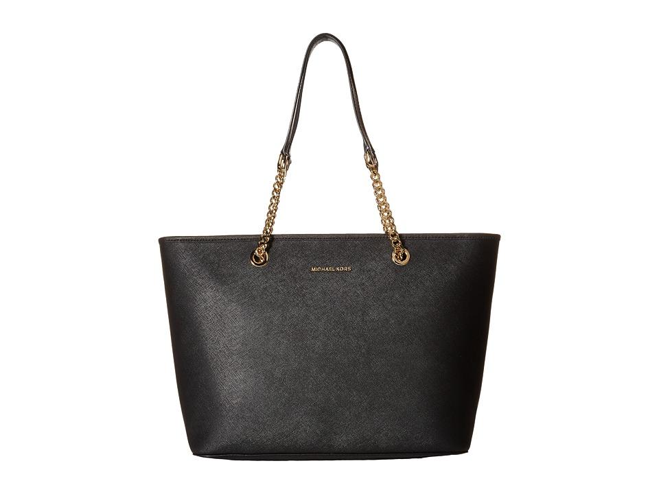 MICHAEL Michael Kors - Jet Set Travel Chain Top Zip Mult Funt Tote (Black) Tote Handbags