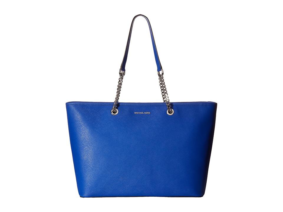 MICHAEL Michael Kors - Jet Set Travel Chain Medium Top Zip Multifunction Tote (Electric Blue) Tote Handbags