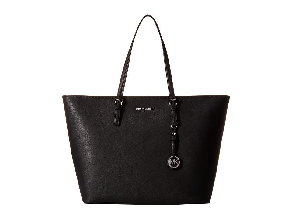 MICHAEL Michael Kors - Jet Set Travel Extra Large Top Zip Multifunction Tote (Black) Tote Handbags