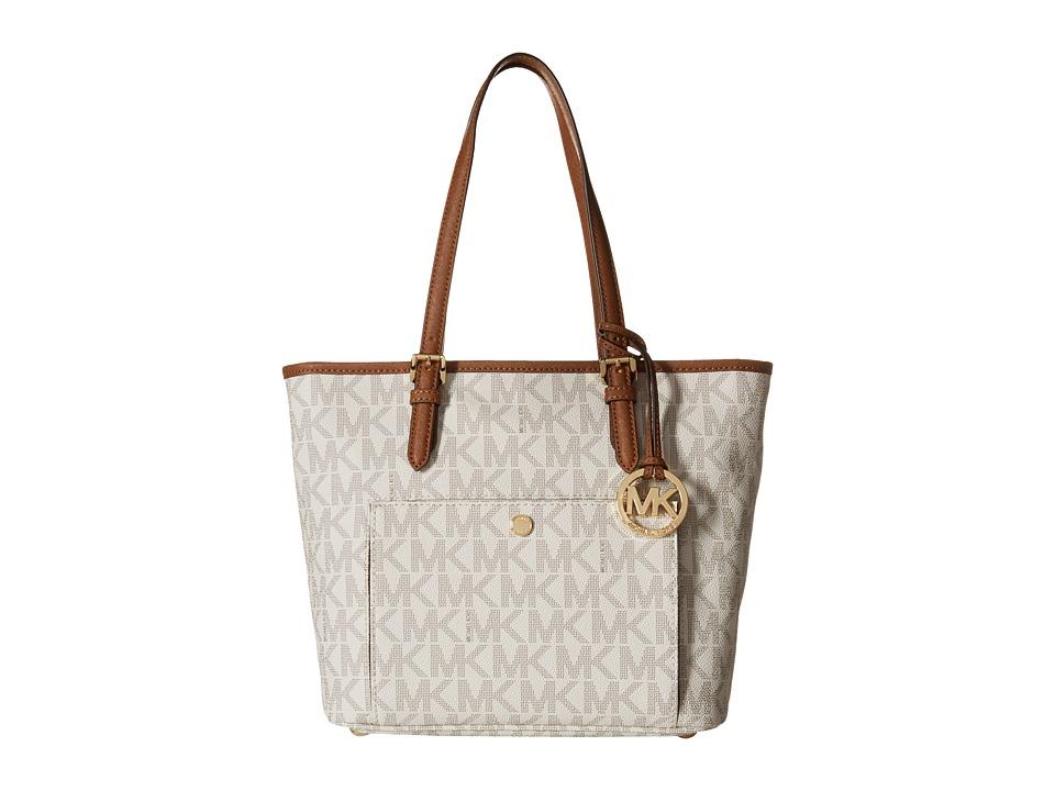 MICHAEL Michael Kors - Jet Set Item Medium Top Zip Snap Pocket Tote (Vanilla) Tote Handbags