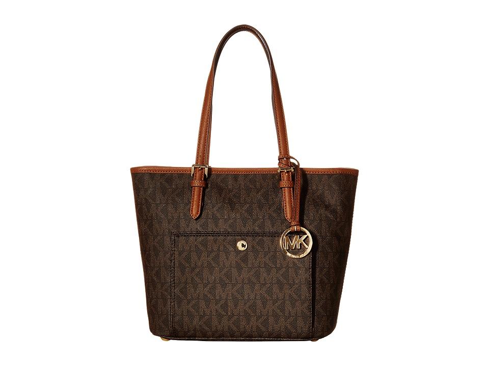 MICHAEL Michael Kors - Jet Set Item Medium Top Zip Snap Pocket Tote (Brown) Tote Handbags