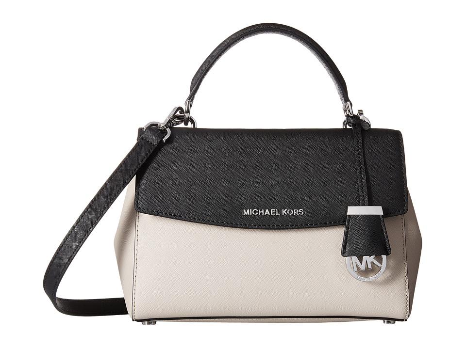 MICHAEL Michael Kors - Ava Small Top-Handle Satchel (Cement/Black) Satchel Handbags
