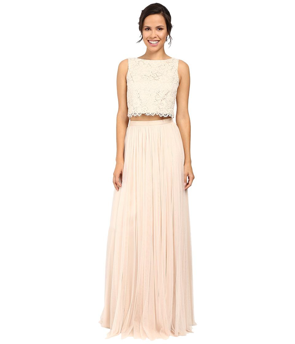 Donna Morgan Alexis Lace Top Skirt (Fawn) Women