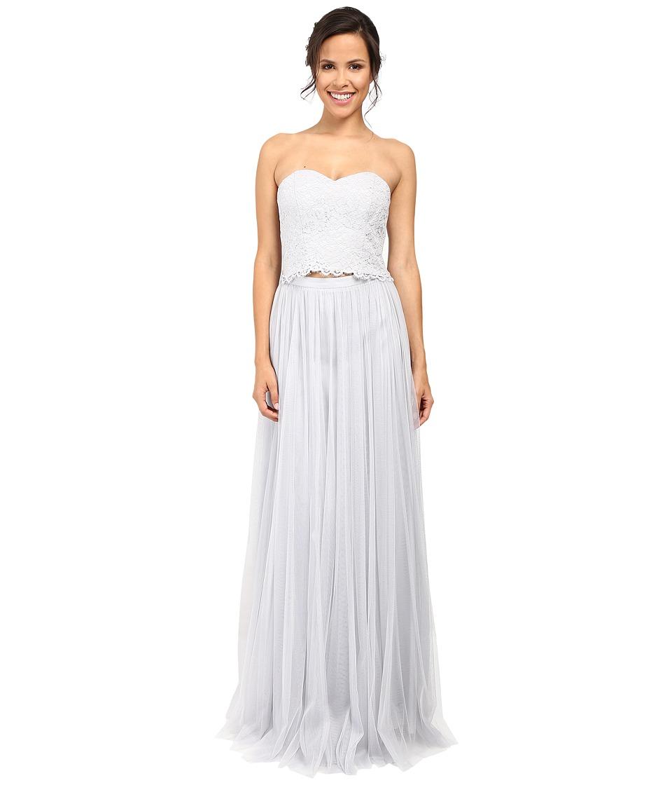 Donna Morgan Adeline Strapless Top Skirt (Platinum) Women