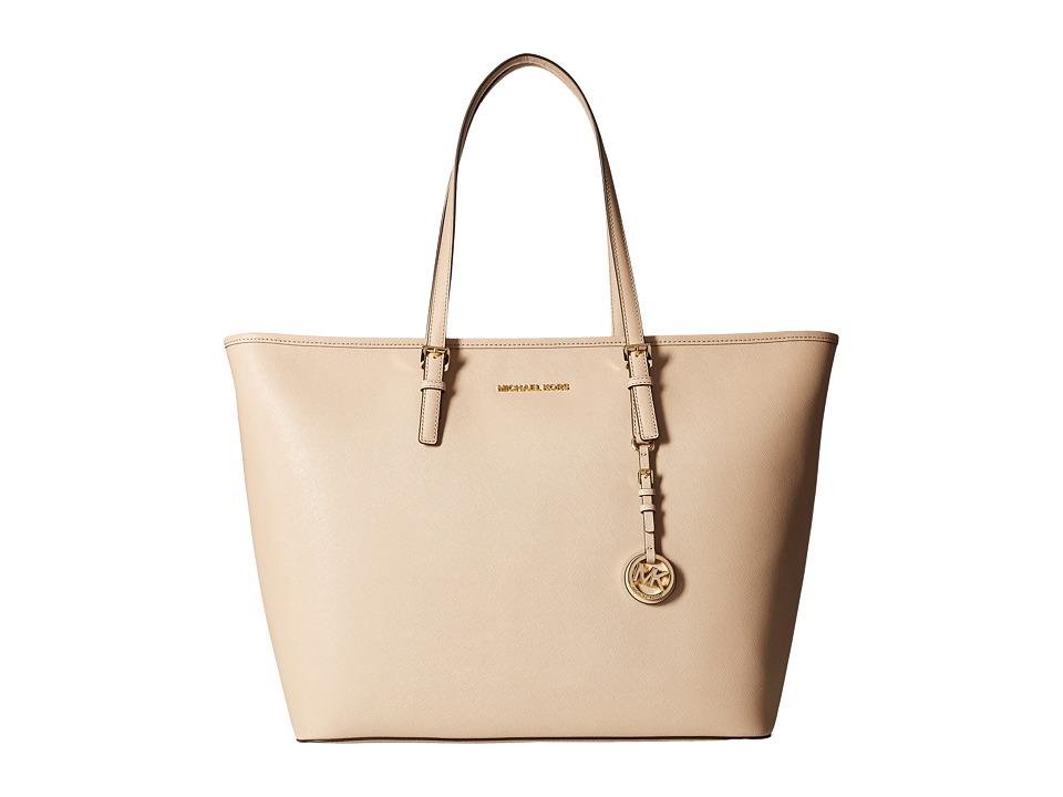 MICHAEL Michael Kors - Jet Set Travel Extra Large Top Zip Multifunction Tote (Bisque) Tote Handbags
