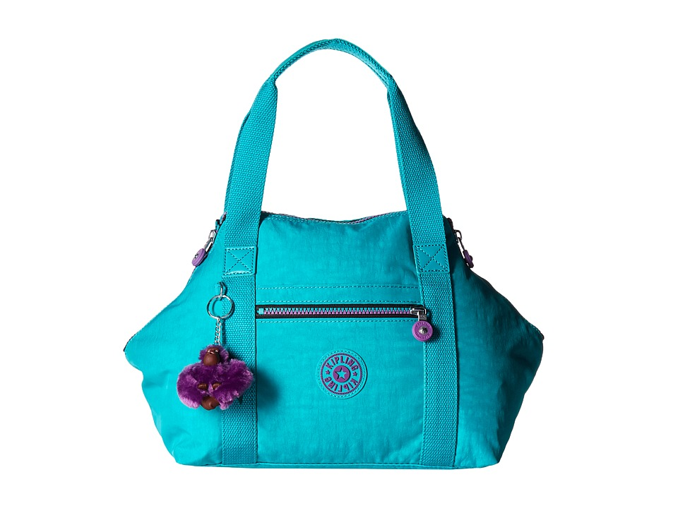 Kipling Art Large Satchel Cool Turquoise Satchel Handbags