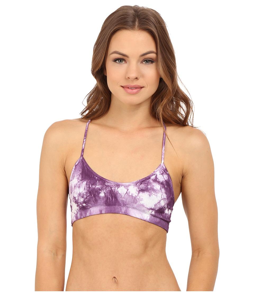 Free People Tie Dye Seamless Baby Racerback Bralette OB526027 Purple Combo Womens Bra
