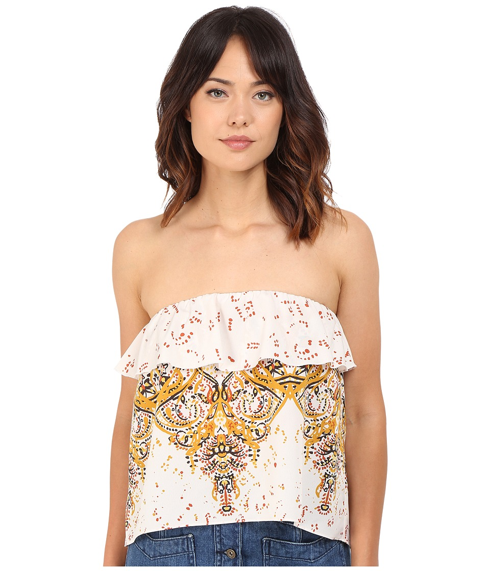 Free People Flounce Printed Tube Top Neutral Combo Womens Sleeveless