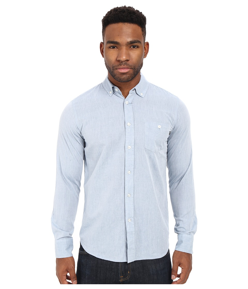 Obey Capital Long Sleeve Woven Top Blue Mens Long Sleeve Button Up