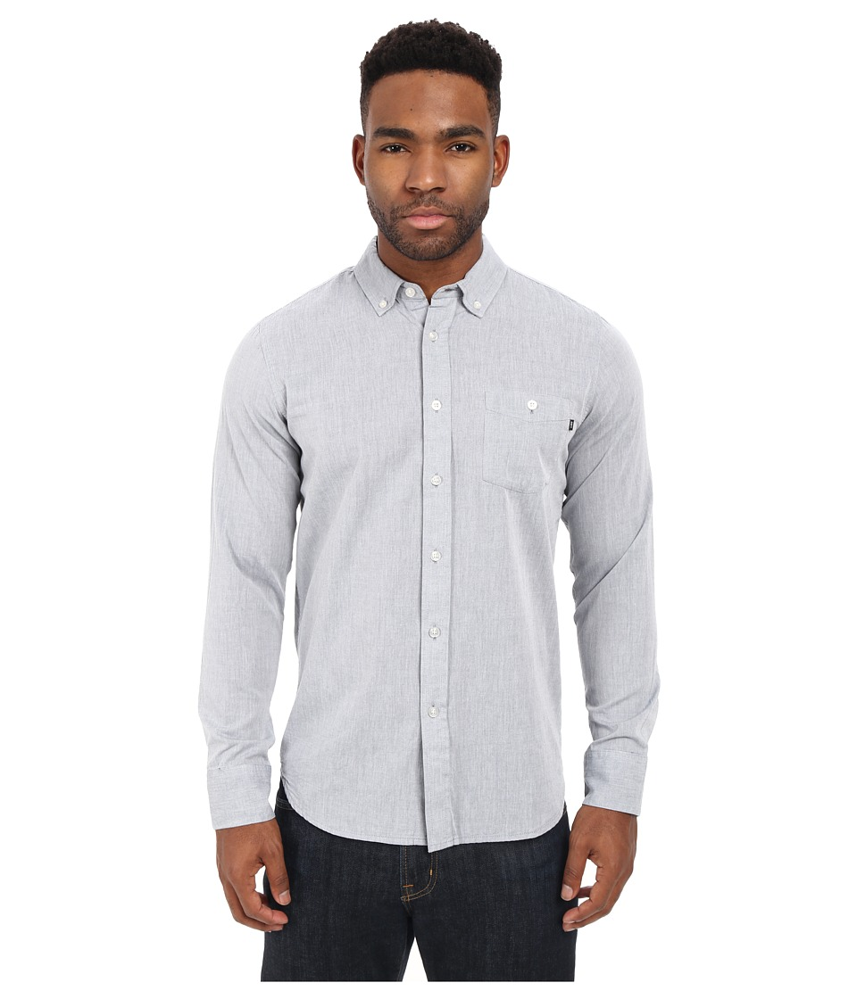 Obey Capital Long Sleeve Woven Top Grey Mens Long Sleeve Button Up