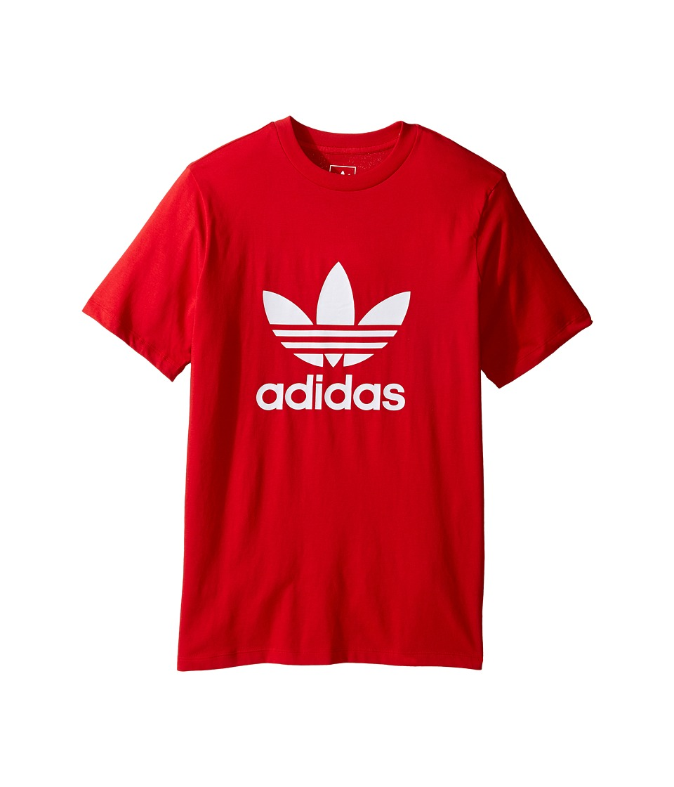 adidas Originals Kids Everyday Iconics Trefoil Tee (Toddler/Little Kids/Big Kids) (Scarlet/White) Boy