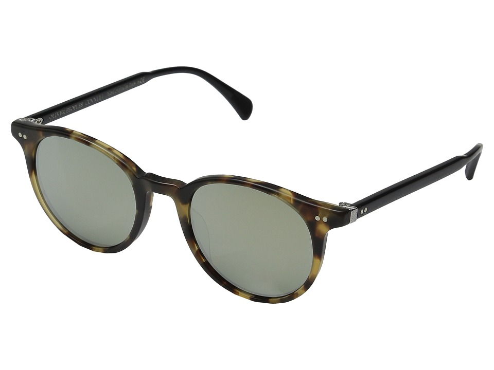 Oliver Peoples Delray Sun Semi Matte Hickory Tortoise/Semi Matte Black/Silver Mirror Fashion Sunglasses