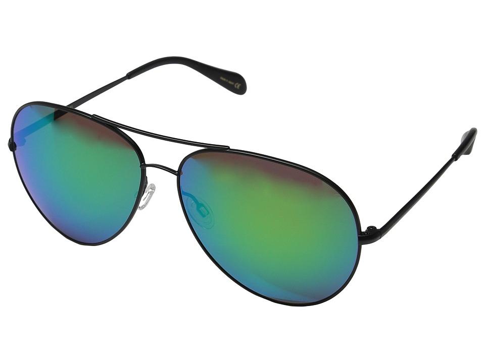 Oliver Peoples Sayer Custom Matte Black/Green Mirror CR 39 Fashion Sunglasses