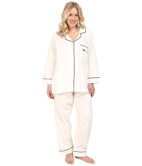 BedHead Plus Size Long Sleeve Classic Bottom Pajama Set - Eyelashes Ivory